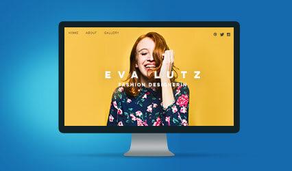 Ein Bildschirm auf dem eine schicke gelbe Webseite zu sehen ist.